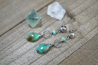 Natural Turquoise Earrings, Sterling Silver