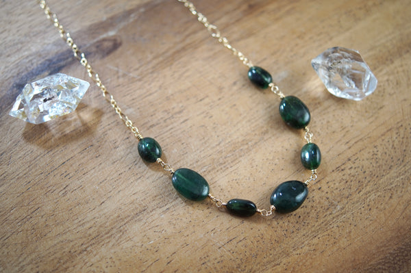 Natural Brazilian Emerald Necklace, 14kt Gold Fill