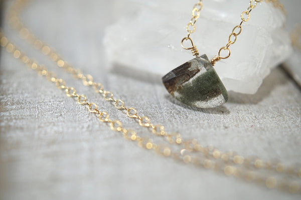 Moss Quartz Fan Necklace, 14kt Gold Fill