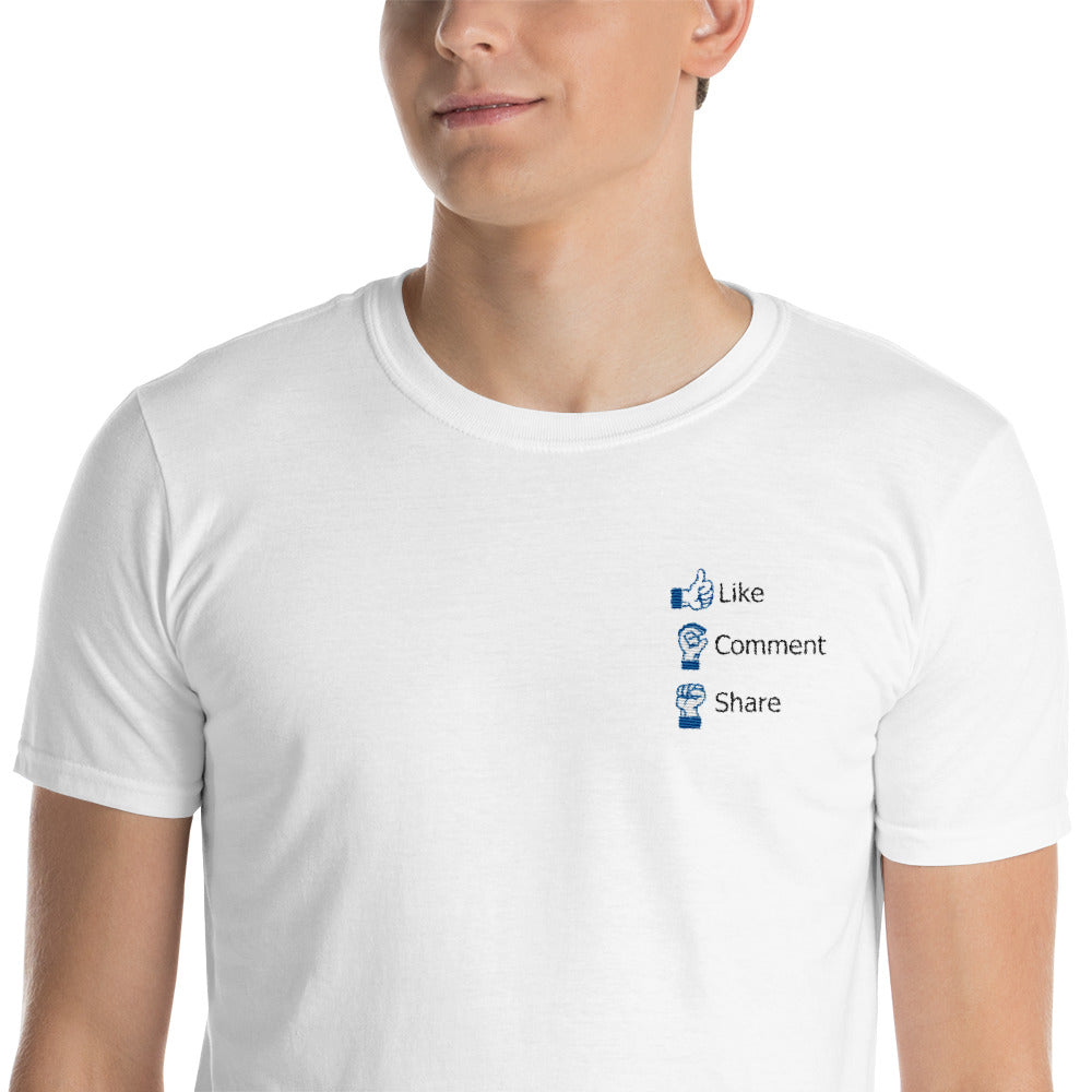 Embroidered Facebook Like, Comment and Share in Sign Language