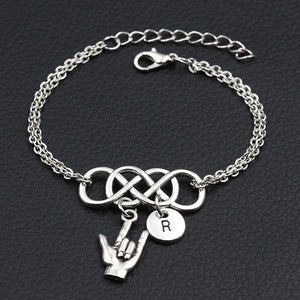 Personalized Love Sign Language Charm Bracelet with A-Z 26 Letters for Women and Girls
