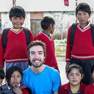 Thom in Bolivia with the kids