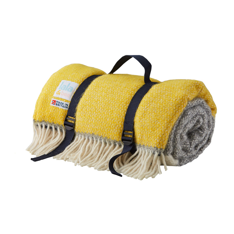 Picnic Blanket-Yellow and Grey