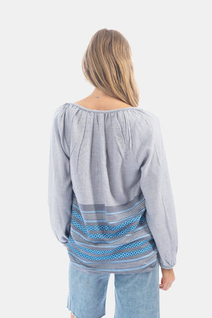 Dylan Chambray Stripe Blouse