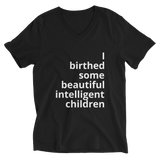 I birthed (Unisex Short Sleeve V-Neck Jersey Tee)