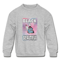 Black & Beautiful (Girl's Crewneck Sweatshirt) - heather gray