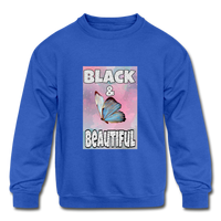 Black & Beautiful (Girl's Crewneck Sweatshirt) - royal blue