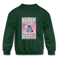 Black & Beautiful (Girl's Crewneck Sweatshirt) - forest green