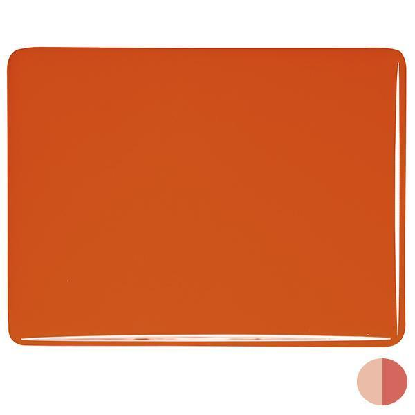Bullseye Glass 0125-50F 17.5x20 Orange half stock sheet