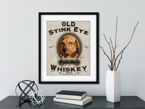 Dachshund gift, Old stink eye label Dachshund Dog Art wall decor, Dachshund wall art print