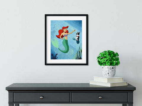 Boston terrier Little Mermaid wall art print