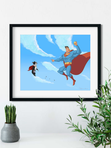 Boston terrier Superman and Krypto dog art wall decor