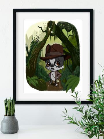 Indiana Jones Boston terrier wall art print