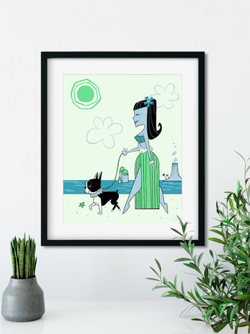 Hula girl walking boston terrier mid century modern style art print