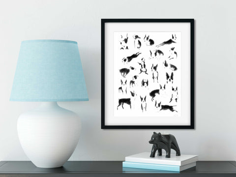 Boston terrier modern dog art print