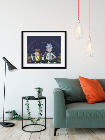 Rick and Morty with a ship full of boston terriers