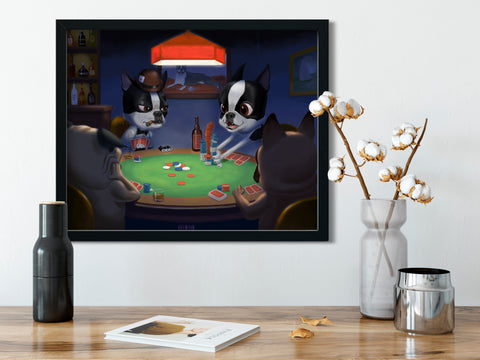 Boston terriers playing poker