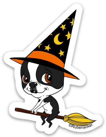 Boston terrier vinyl Halloween sticker, boston terrier stickers, boston terrier gift, dog stickers, Halloween stickers, witch sticker