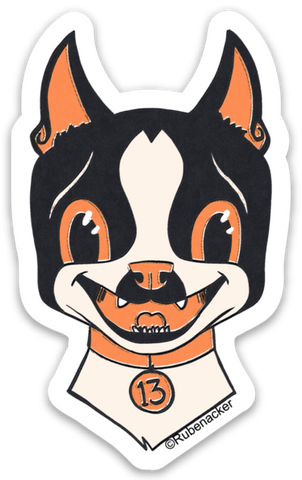 Boston terrier vinyl Halloween sticker, boston terrier stickers, boston terrier gift, dog stickers, Halloween stickers,Vintage style sticker