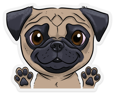 Pug clear vinyl sticker