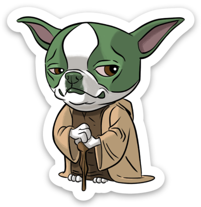 Boston terrier yoda sticker