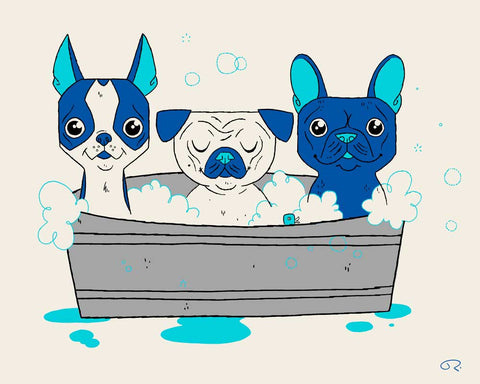 Three dogs in a tub mid century modern style art print