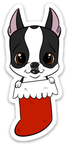 Boston terrier Christmas stocking vinyl sticker