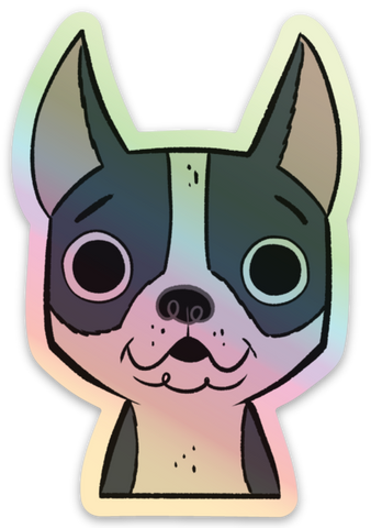 Boston terrier holographic vinyl sticker