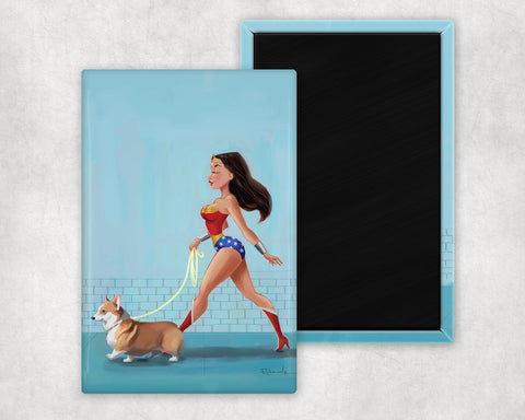 Wonder Woman walking a corgi dog art magnet