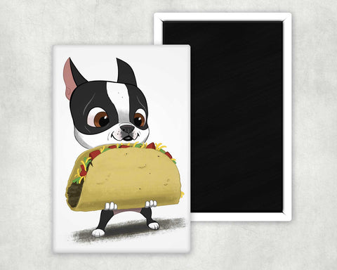 Boston terrier with taco magnet