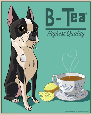 Boston terrier B-Tea label art print