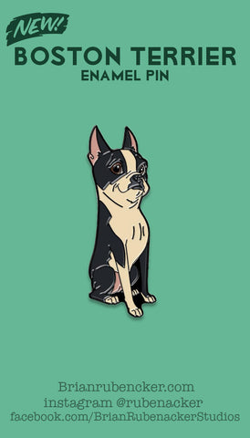 Boston terrier sitting pin