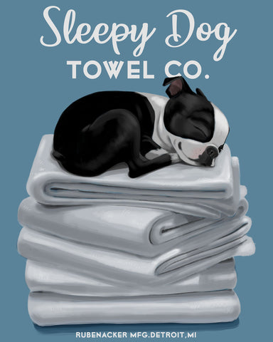 Boston terrier sleepy dog towels