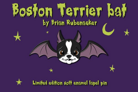 Boston Terrier bat pin