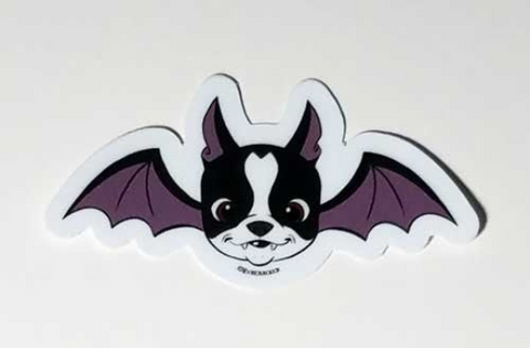 Boston terrier vinyl Halloween sticker, boston terrier stickers, boston terrier gift, dog stickers, Halloween stickers, Bat sticker