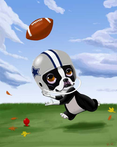 Boston terrier football art print