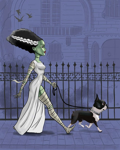 boston terrier art, print bride of Frankenstein, walking a boston terrier, Boston Terrier gift, movie monster, Halloween decor