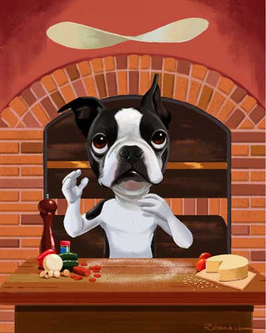 Boston terrier gift, Boston terrier art, Pizza chef, kitchen art - Boston Terrier Dog Art print, boston terrier wall decor