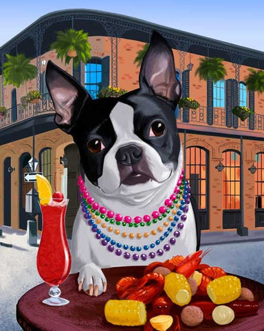Boston terrier gift, New Orleans art, Boston Terrier print, boston terrier art