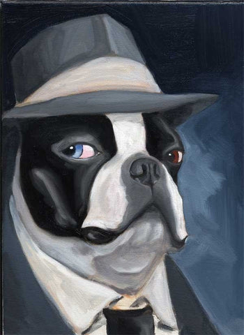 Boston terrier gift, Old Blue Eye - Boston Terrier dog art print, boston terrier decor, wall decor, rat pack, painting