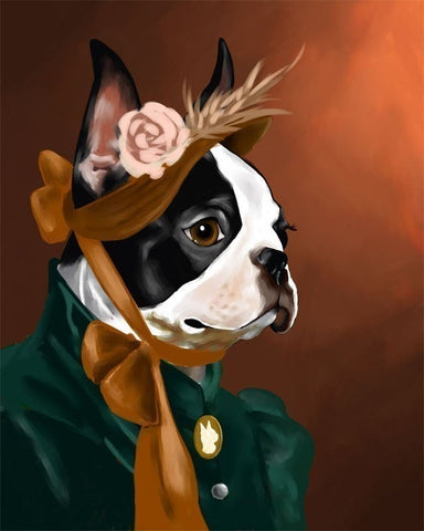 The American Lady - Boston Terrier Art Print by Brian Rubenacker, boston terrier home decor, boston terrier gift