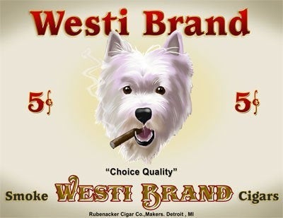 West Highland Terrier Cigar Label Print