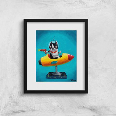 Boston Terrier gift, Space Rangers - Boston Terrier art print, space rocket Wall Decor