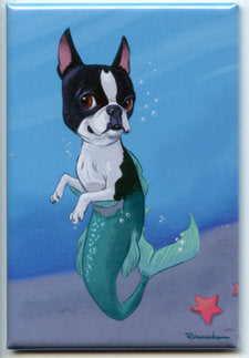 Boston terrier gift, boston terrier Magnet, boston terrier mermaid, cute boston, mermaid art