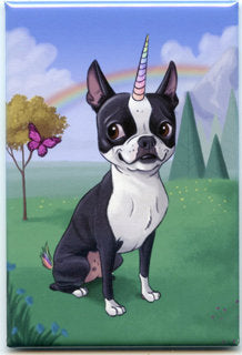 Boston terrier gift, boston terrier Magnet, boston terrier unicorn, cute boston, bosticorn