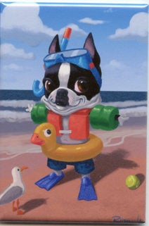 Boston terreir gift, Boston Terrier Magnet, fun at the beach, cute boston terrier, swiming pool boston terrier