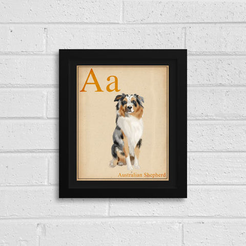 Australian Shepherd Gift, Portrait Artwork Custom Dog Portrait, Dog Painting Print Pet Wall Decor, Kid's Room Art, ABC flash cards