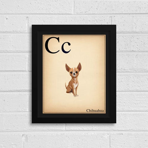 Chihuahua Gift, Portrait Artwork Custom Dog Portrait, Dog Painting Print Pet Wall Decor, Kid's Room Art, ABC flash cards