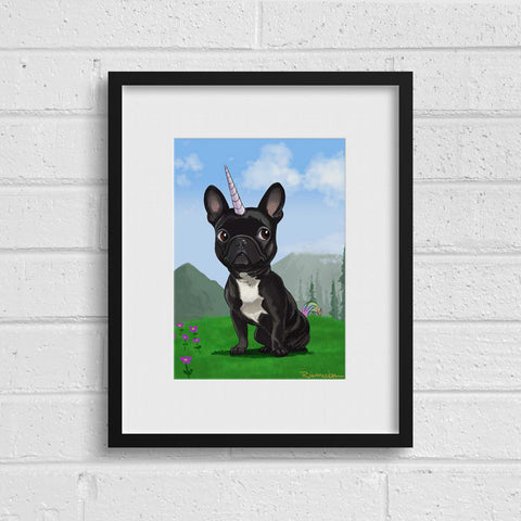 French bulldog unicorn wall decor, French Bulldog Frenchie Dog Art, French bulldog art print, french bulldog gift