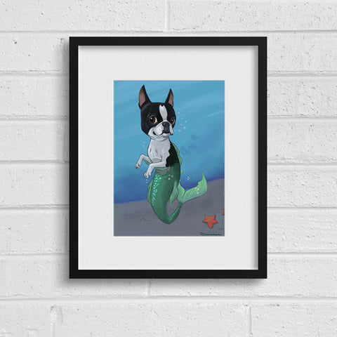 Boston terrier mermaid wall decor, Boston Terrier Dog Art, mermaid, Boston Terrier gift, home decor